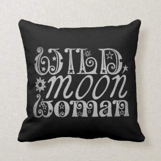 Wild Moon Woman Throw Pillow