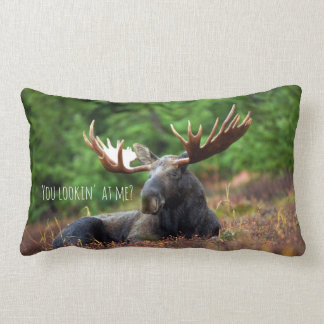 Wild Moose on Hill with Attitude in Forest Photo Lumbar Cushion