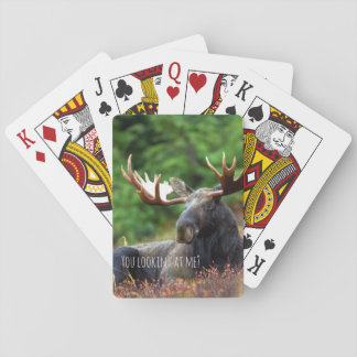 Wild Moose on Hill with Attitude in Forest Photo Poker Deck