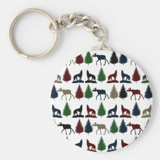 Wild Moose Wolf Wilderness Mountain Cabin Rustic Basic Round Button Key Ring