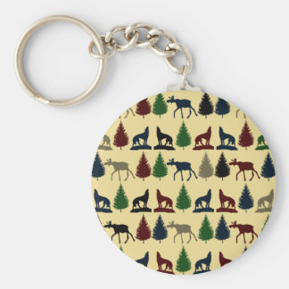 Wild Moose Wolf Wilderness Mountain Cabin Rustic Key Ring
