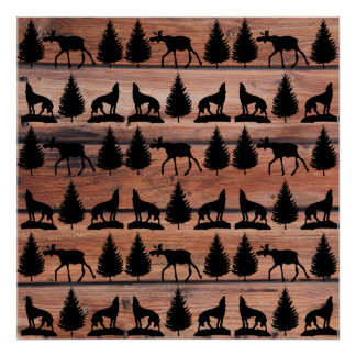 Wild Moose Wolf Wilderness Mountain Cabin Rustic Poster