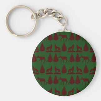 Wild Moose Wolves Pine Trees Rustic Green Maroon Key Ring