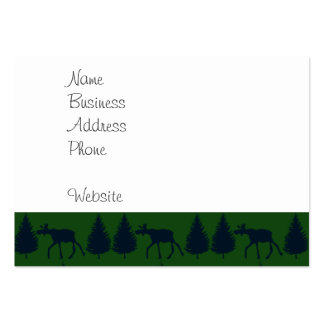 Wild Moose Wolves Pine Trees Rustic Green Navy Pack Of Chubby Business Cards