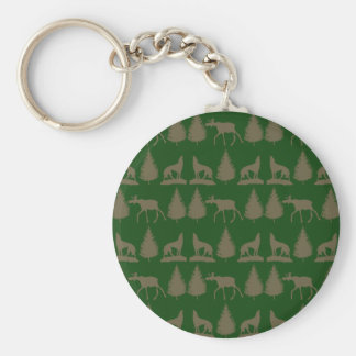 Wild Moose Wolves Pine Trees Rustic Tan Green Basic Round Button Key Ring