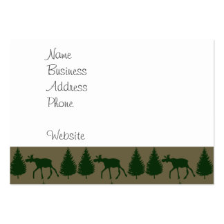 Wild Moose Wolves Pine Trees Rustic Tan Green Pack Of Chubby Business Cards