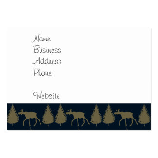 Wild Moose Wolves Pine Trees Rustic Tan Navy Blue Business Cards