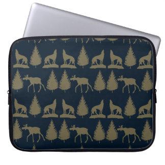 Wild Moose Wolves Pine Trees Rustic Tan Navy Blue Laptop Sleeve