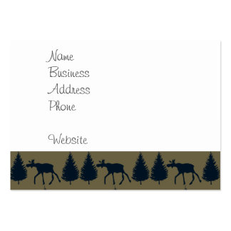 Wild Moose Wolves Pine Trees Rustic Tan Navy Blue Pack Of Chubby Business Cards