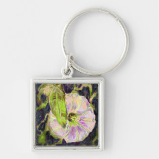Wild Morning Glory by Alexandra Cook Silver-Colored Square Key Ring