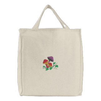 Wild Mushroom Embroidered Tote Bags
