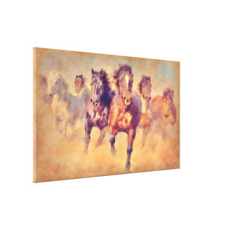 Wild Mustang Horses Stampede Watercolor Canvas Print