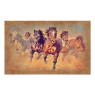 Wild Mustang Horses Stampede Watercolor Painting Posters