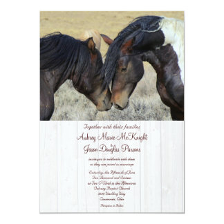 "Wild Mustang Horses Wedding Invitations 5"" X 7"" Invitation Card"