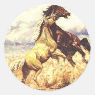 Wild Mustangs Classic Round Sticker