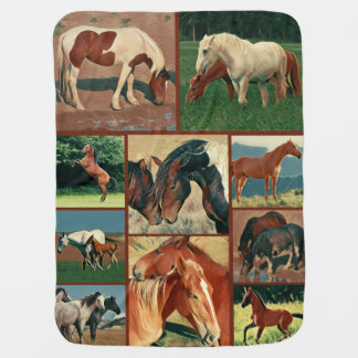 Wild Mustangs Collage Swaddle Blankets