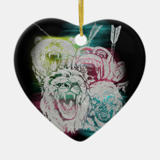 Wild Nature Animals Lion Monkey Wolf Ceramic Heart Decoration