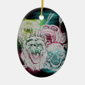 Wild Nature Animals Lion Monkey Wolf Christmas Ornament
