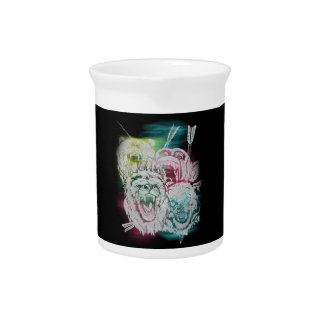 Wild Nature Animals Lion Monkey Wolf Pitcher