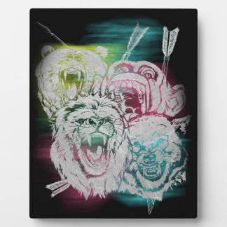 Wild Nature Animals Lion Monkey Wolf Plaque
