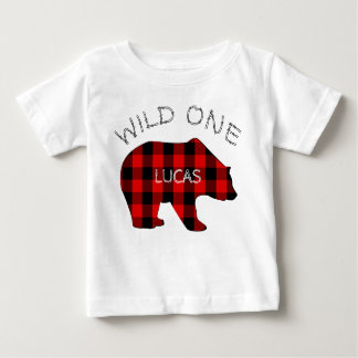 Wild One 1st Birthday Bear Lumberjack Plaid Baby T-Shirt