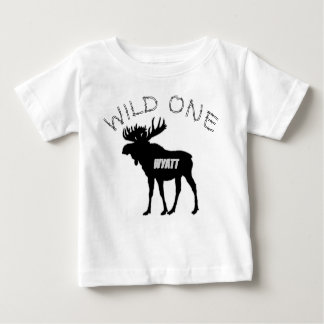 Wild One 1st Birthday Moose Forest Creatures Baby T-Shirt