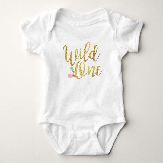 Wild one Baby birthday Girl bodysuit Gold shirt