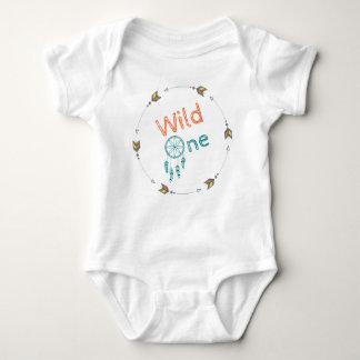 Wild One Baby Birthday Tribal Boho Dreamcatcher Baby Bodysuit
