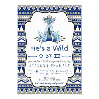 Wild One Birthday Party Blue Teepee First Birthday 13 Cm X 18 Cm Invitation Card