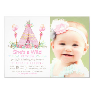 Wild One Birthday Party Pink Teepee 1st Birthday Card