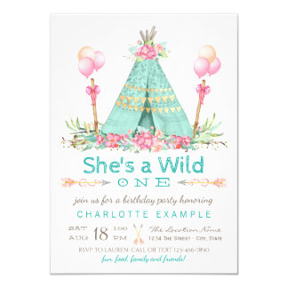 Wild One Birthday Party Teepee First Birthday 11 Cm X 16 Cm Invitation Card