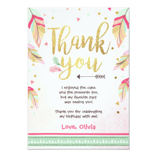 Wild One birthday Thank you card pink gold Girl