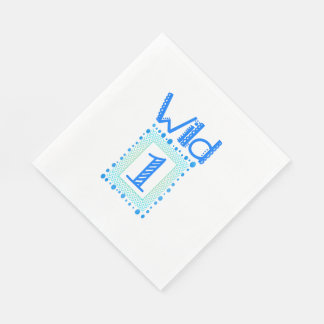 Wild One Blue Green First Birthday Napkins Disposable Napkin