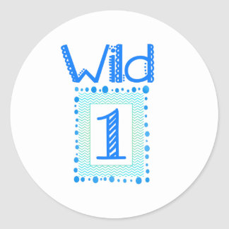 Wild One Blue Green First Birthday Stickers