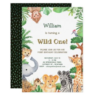 Wild One Cute Animals Jungle Safari Birthday Invitation