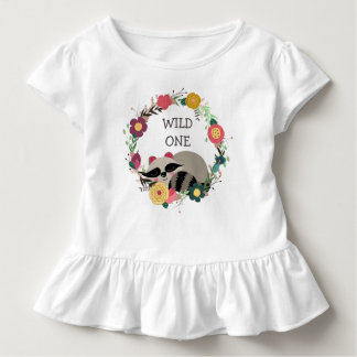 Wild One Floral Wreath Raccoon Toddler T-Shirt