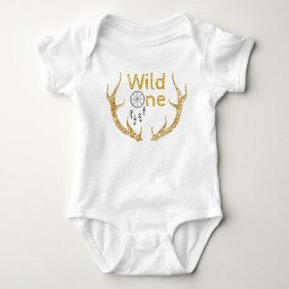 Wild One Gold Glitter Antlers Tribal 1st Birthday Baby Bodysuit