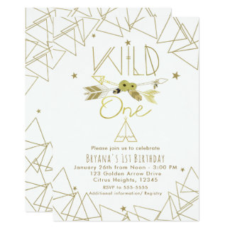 WILD ONE Gold & White Boho 1st Birthday ANY COLOR Card