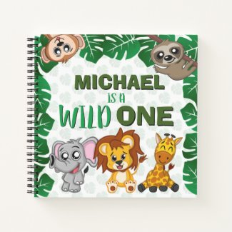 Wild One Jungle Safari Animal First Birthday Guest Notebook
