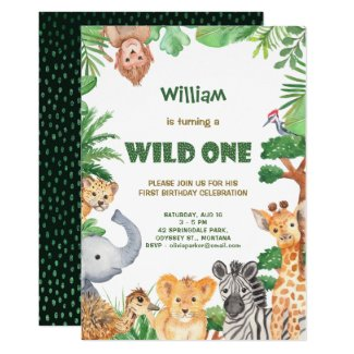 Wild One Jungle Safari First Birthday Invitation