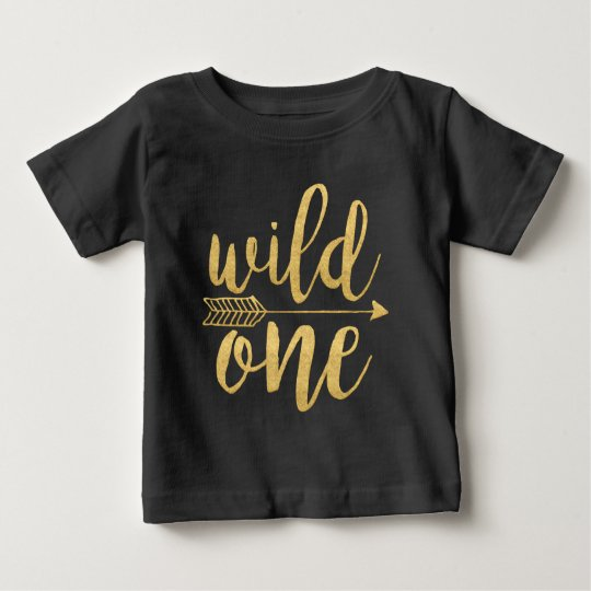 Wild One One Year Old Gold Script Baby T-Shirt