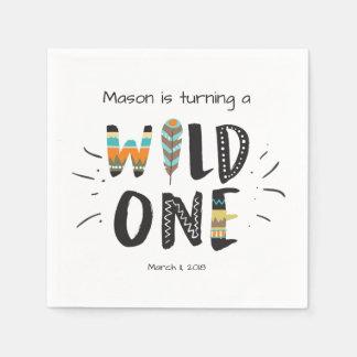 Wild one Paper Napkin Tribal Boy Birthday Feathers