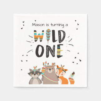 Wild one Paper Napkin Tribal Woodland Animals Boy