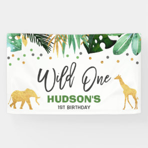 Wild One Party Banner Jungle Animals Party