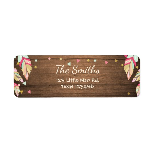 Wild one Return Address Label Tribal Feathers