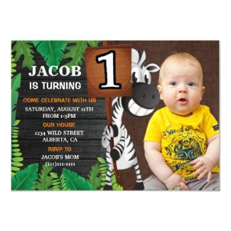 Wild One Safari  Custom Photo Birthday Invitation