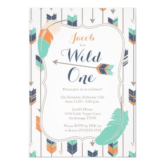 Wild ONE Tribal Arrows Birthday Party Blue Green Card
