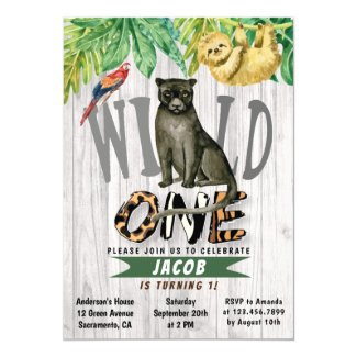 Wild One Watercolor Safari Panther 1st Birthday Invitation