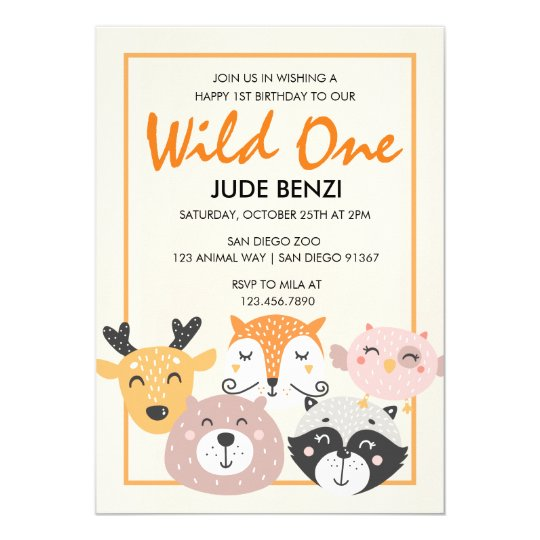 Wild One Woodland Animal First Birthday invitation