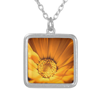 Wild Orange Daisy Silver Plated Necklace